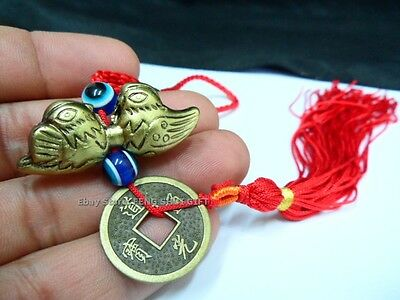Brass Tone Feng Shui Money Chinese Lucky Coin Mandarin Duck Hanging Tassel Charm