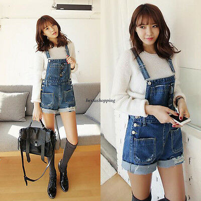 Fashion Women Denim Suspender Straps Short Pants Jumpsuits Bib Rompers Overalls