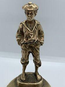 Vintage-Ashtray-Rare-Brass-Bronze-Boy-The-Whistler-Statue-Very-Detailing