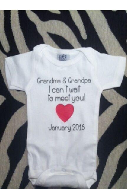 announce pregnancy baby shirt new Grandparents one piece grandparents bodysuit