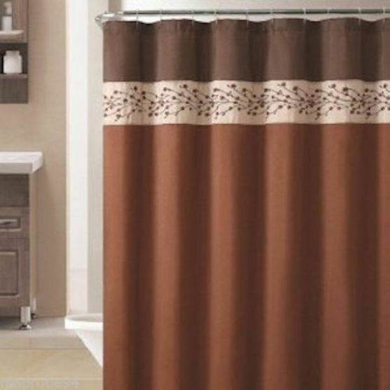 VCNY Victoria Classics Sadie Fabric Shower Curtain Chocolate Brown Copper Floral