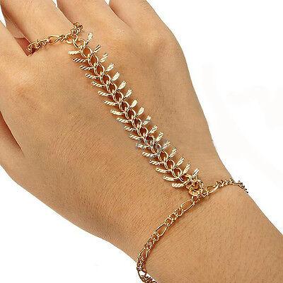 Celebrity Gold Plated Hand Harness Bracelet Centipede Bracelet Chain Finger Ring