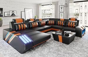 Design Sofa Couch Polster Eck Garnitur Ledersofa Ecksofa