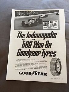 VINTAGE 1960s 034INDIANAPOLIS 500034 GOODYEAR TYRES ORIGINAL ADVERT - Cheltenham, United Kingdom - VINTAGE 1960s 034INDIANAPOLIS 500034 GOODYEAR TYRES ORIGINAL ADVERT - Cheltenham, United Kingdom