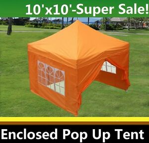 A imagem está carregando 10-039-x10-039-Enclosed-Pop-Up-Canopy-  sc 1 st  eBay & 10u0027x10u0027 Enclosed Pop Up Canopy Party Folding Tent Gazebo - Orange ...