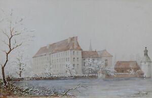 Gouache-Von-1843-Signatur-Darstellend-Der-Schloss-Blessac-Suppenteller-Aubusson
