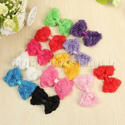 12Pcs Baby Girls Toddler Chiffon Rose Flower Lace Bowknot Bow Headband Hair Band