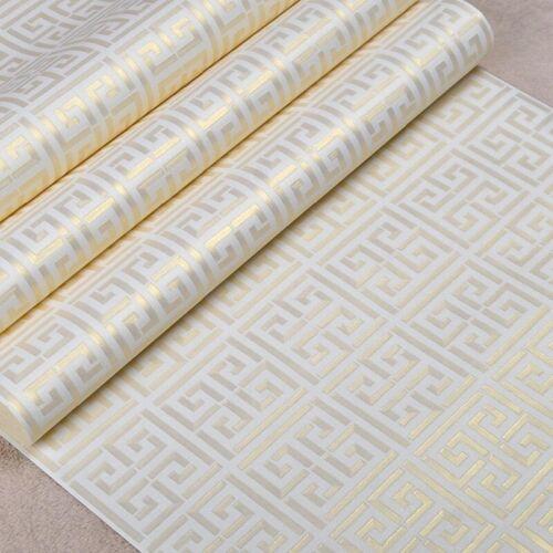 Gold Greek Key Pattern White Wallpaper Modern Geometric Metallic Vinyl wallpaper