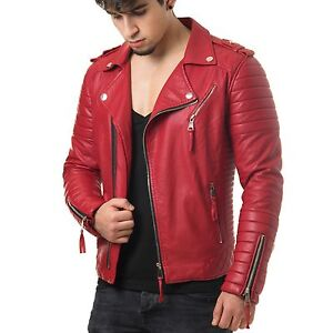 NEW Men Handcrafted Pure Soft Leather Jacket Biker Motorcycle Racer Cafe SNS