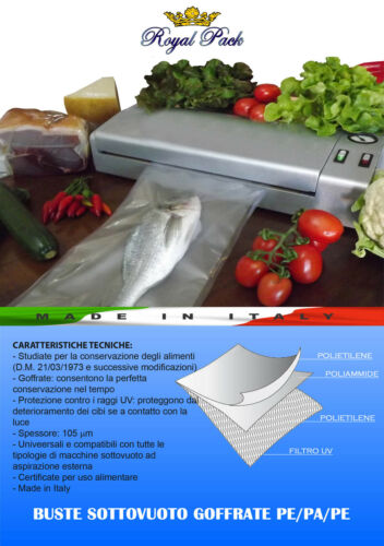 ROYAL PACK 25 SACCHETTI SOTTOVUOTO BUSTE GOFFRATE ALIMENTI 15x40