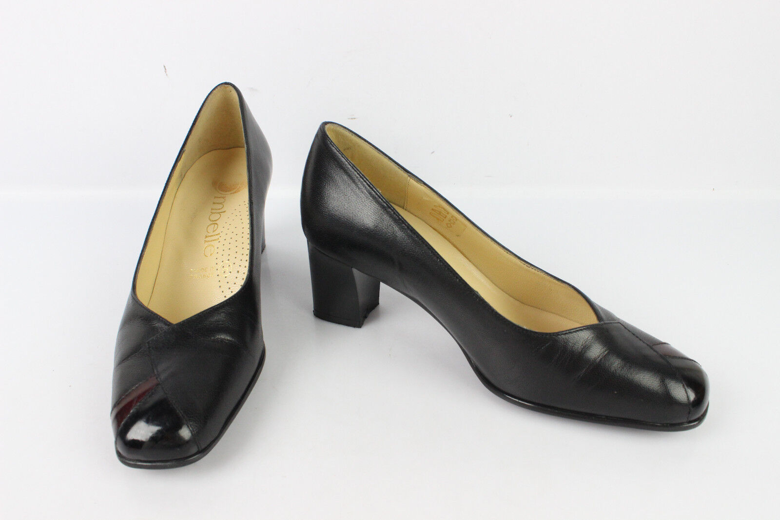 Escarpins OMBELLE Made in France Cuir black T 36 TRES BON ETAT