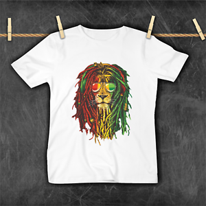 Funny Cute Rasta Lion Toddler Children/'s T-shirt 1-12 years Birthday Top Gift