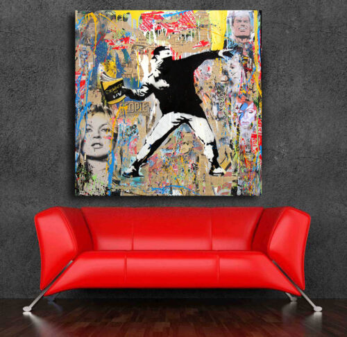 Banksy Art for Dummies  Street art Print Grafitti  24 x 24 Canvas print Thrower