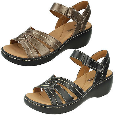 DELANA VARRO LADIES CLARKS LEATHER OPEN TOE RIPTAPE WEDGE SANDALS BEACH SHOES | eBay