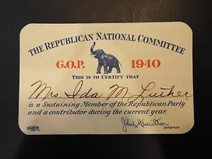 Image Is Loading The Republican National Committee G O P 1940 Membership  Card