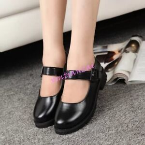 Women-Sweet-Buckle-Round-Toe-Lolita-Shoes-Block-Low-Heels-Mary-Jane-New-Stylish