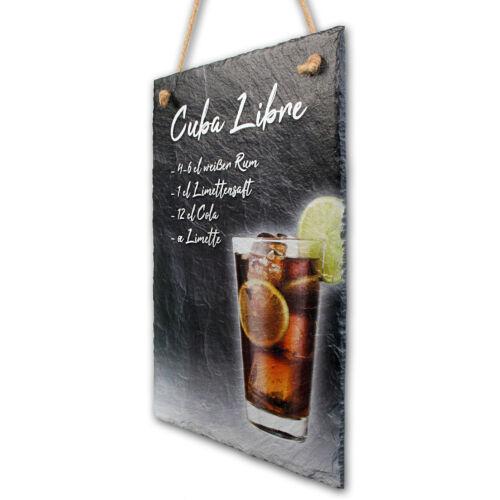 Cuba Libre Cocktail Schild aus echtem Schiefer Schiefertafel Rezept 30x20cm
