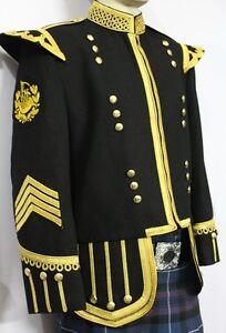 Pipe Major Doublet Black Blazer Wool Gold Braid And Trim Fancy Collar