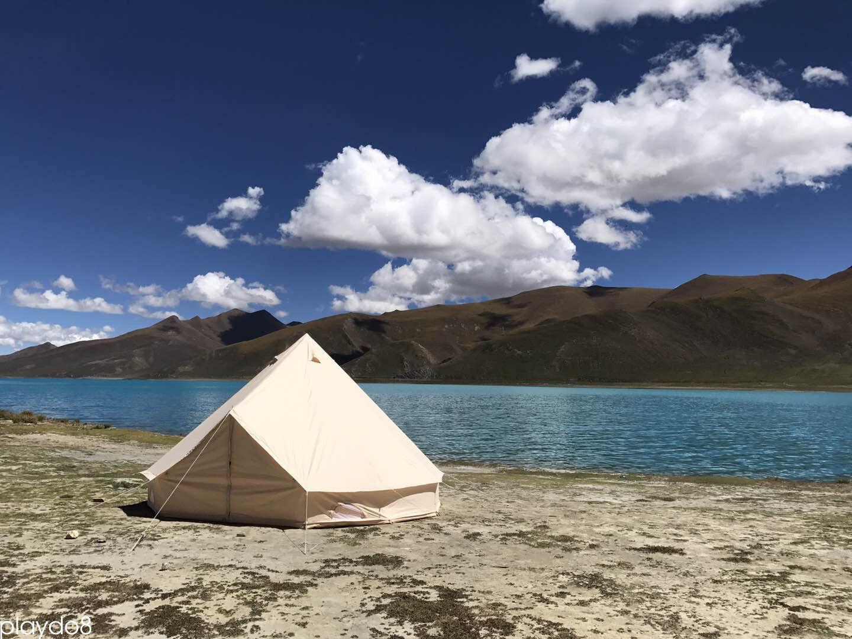 5M Canvas Tent Clamping Bell Tent Beach Heavy Duty Safari Tent Waterproof Beige