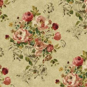 Wallpaper-Large-Floral-in-Vase-Red-Pink-Brown-Green-Yellow-on-Tan-Faux