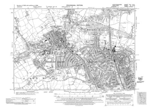 Barnet Vale Old map Chipping Barnet Monken Hadley 1938 Herts repro 45-NE