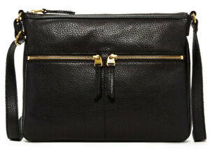 NWT-Fossil-Elise-Large-Crossbody-Black-Pebble-Leather-Bag-158-Retail-SHB2056001