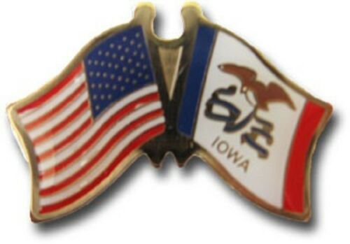 Pack of 6 USA American Iowa State Friendship Flag Bike Hat Cap lapel Pin
