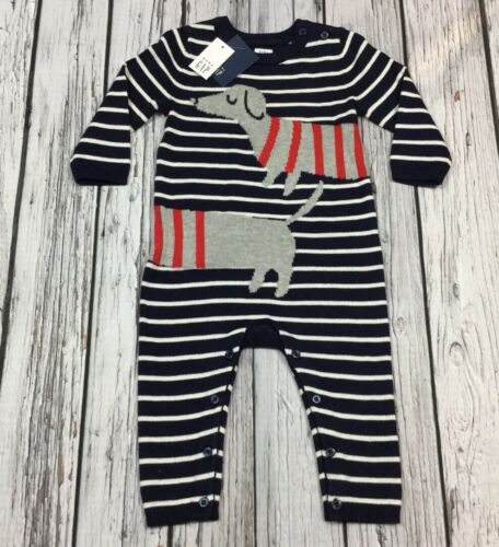 Baby Gap Boys 6-12 Months Navy Blue Striped Weiner Dog Sweater Romper Nwt