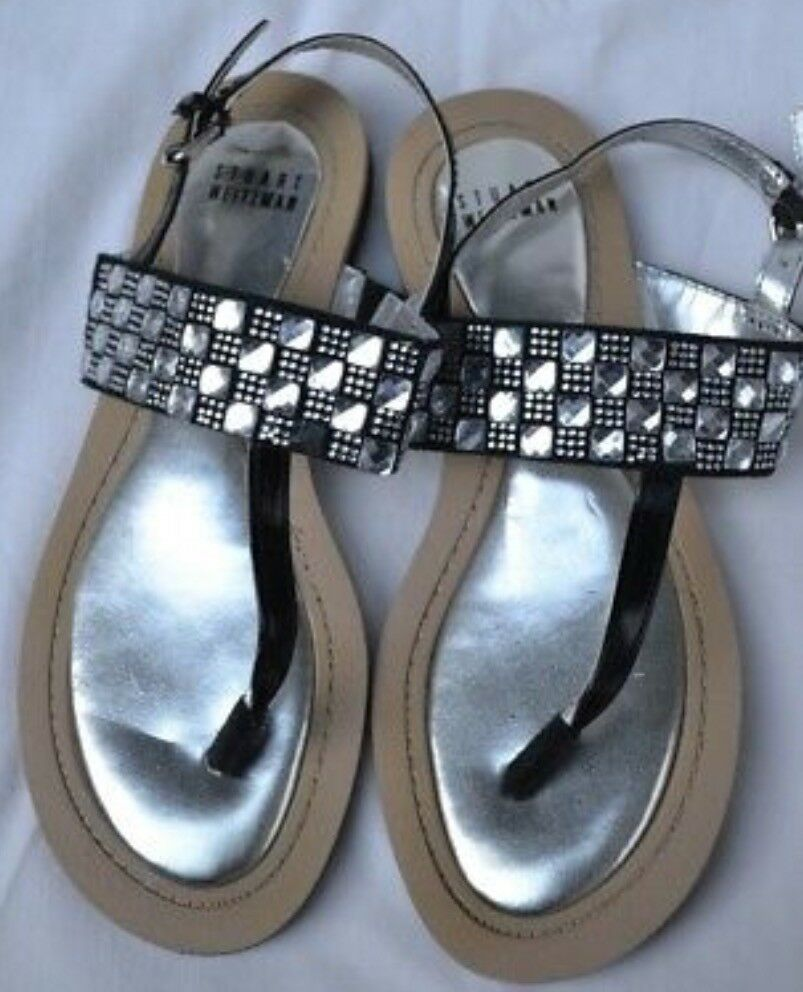 STUART WEITZMAN NEW AUTH  299 donna nero Leather Crystal Acent T-Strap Sandal 4
