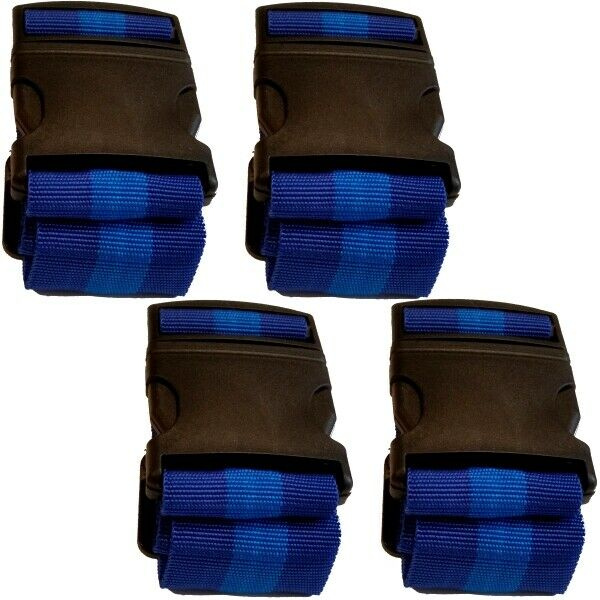 "4x Koffergurt Kofferband Gepäckband Koffer-Gurt Koffer-Band im Design: ""Blau"""