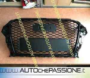 Griglia-Calandra-per-AUDI-A3-8V-2012-gt-2016-RS-3-Look-nero-lucido-black-grill