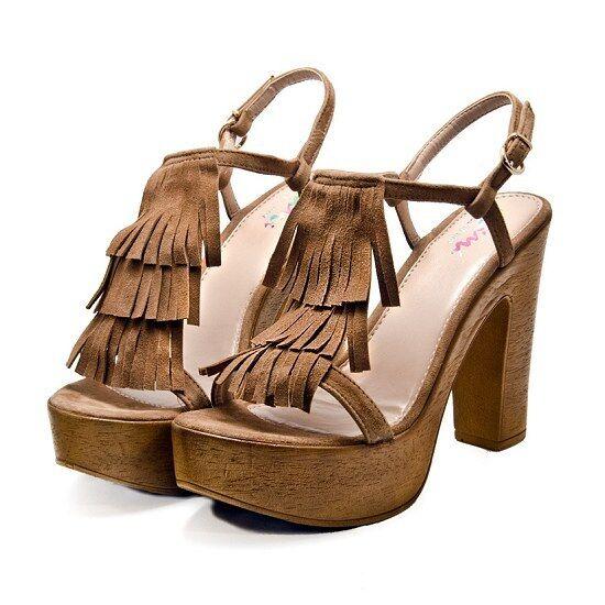 Designer Sandals by Mimi shoes in in in Brown Size 8 Platform Heels Euro 41 3ede61