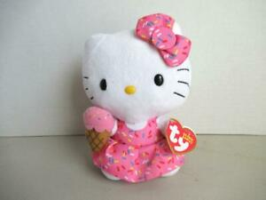 TY-Beanie-Babies-HELLO-KITTY-with-ICE-CREAM-Sanrio-2013-7-034-New-TAG