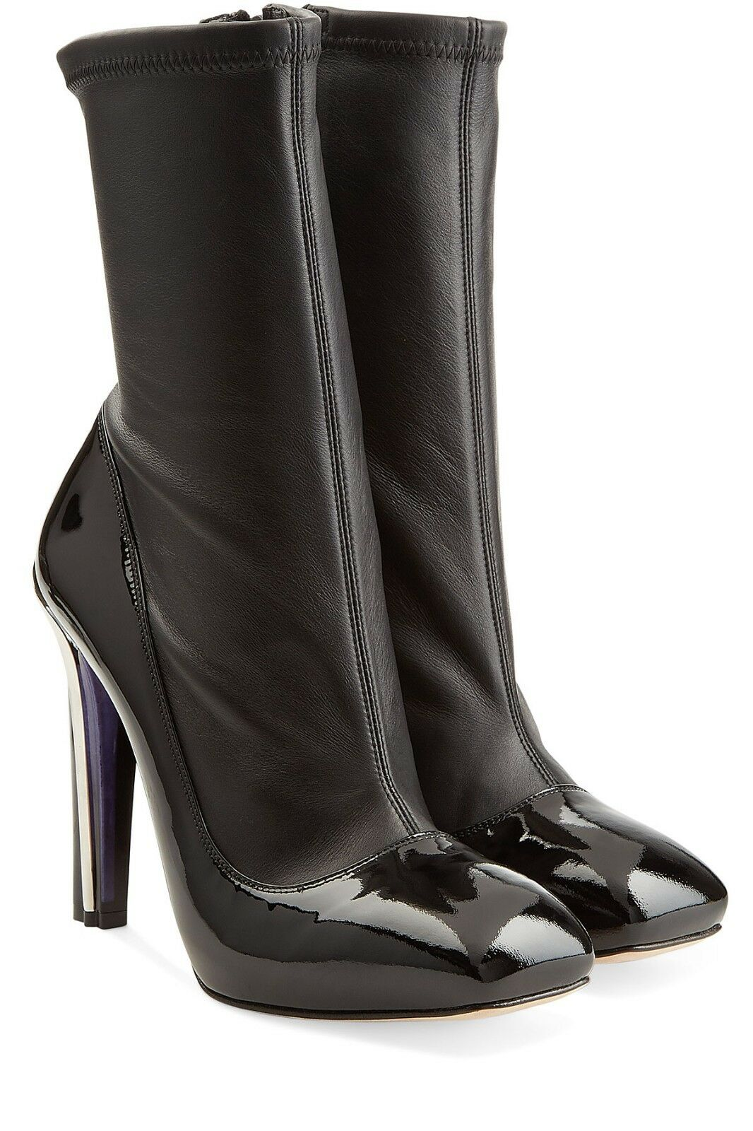 1785 Alexander Mcqueen Stretch Leather Black Midcalf Booties Heels Boots 37
