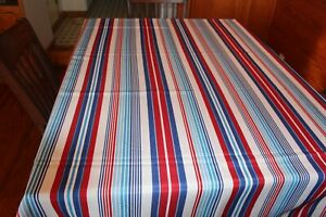 Red White And Blue Striped Tablecloth 97 X 61 Veterns Day 4th Of July Ebay