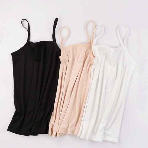 Womens Plain Sleeveless Ladies Stretch Long Strappy Camisole Vest Cami Tank Top