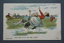 R&L Postcard: M&L Comic, Paddling in the Sea, Rowing Boat, Old Man & Woman