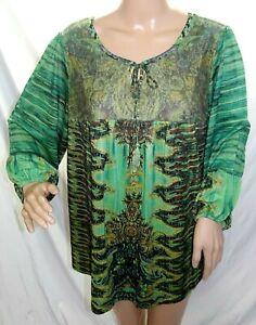 Dressbarn Women Plus Size 1x 2x 3x Green Brown Floral Tunic ...