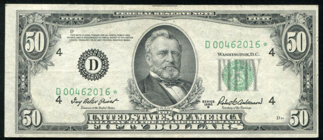 FR. 2109-D* 1950-B $50 FIFTY DOLLARS *STAR* FRN FEDERAL RESERVE NOTE
