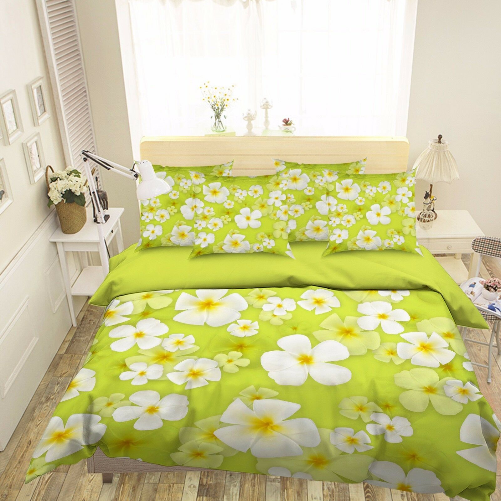 3D Green White Petals 55 Bed Pillowcases Quilt Duvet Cover Set Single Queen CA
