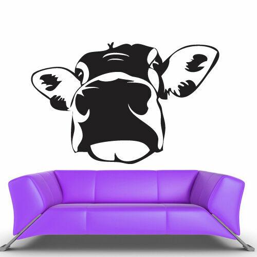 Z461 Wall Vinyl Sticker Bedroom Design Cartoon Funny Cow Head