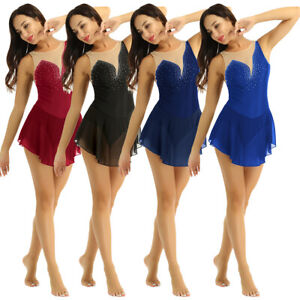Women-Roller-Skating-Ice-Skating-Dress-Modern-Lyrical-Ballet-Dance-Leotard-Dress