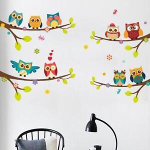 Eule-Vogel-Wandaufkleber-Kinder-Lesesaal-Kindergarten-Abnehmbare-Aufkleber-Dekor