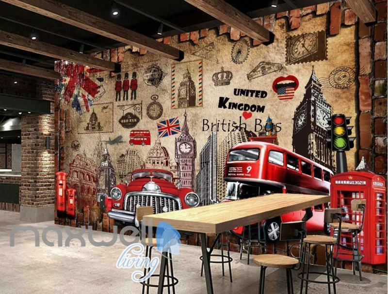 London England United Kingdom Display Red Art Wall Murals Wallpaper Decals Print