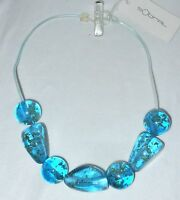 Sobral Cicarelli Metallique Blue & Gold 7 Bead Necklace From Brazil
