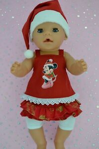 """Play n Wear Doll Clothes 17"""" Baby Born XMAS SKIRT/BUILT-IN TIGHTS~TOP~XMAS HAT"""