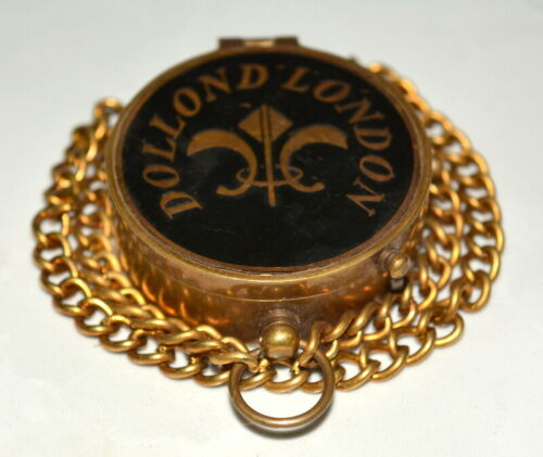 """Antique vintage maritime brass 2/"""" compass dollond london with chain good gift"""