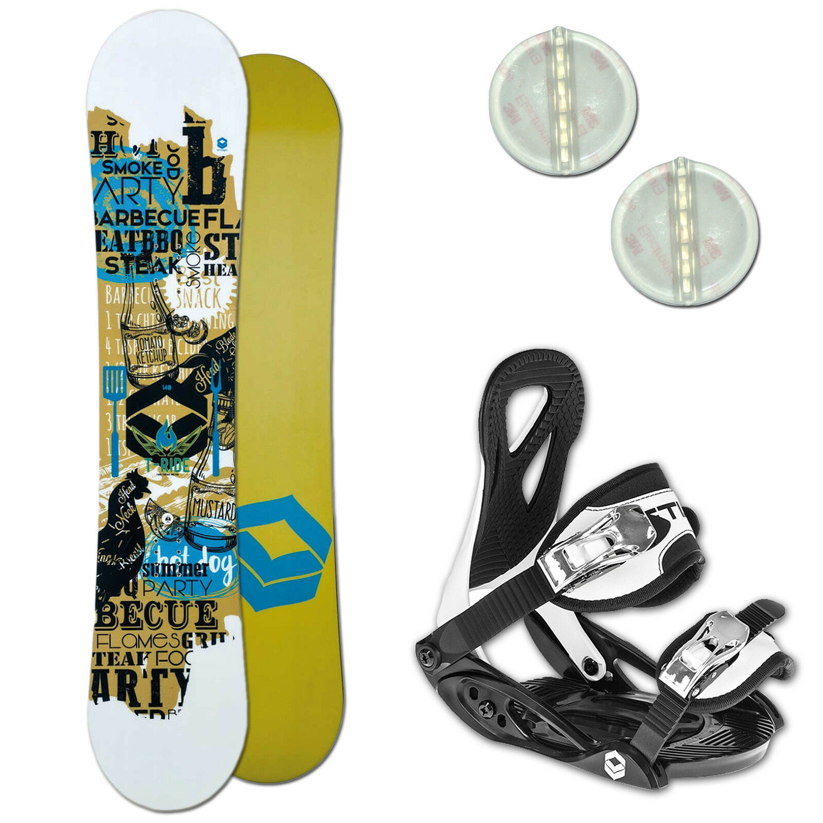 Ftwo T-Ride Enfants Set de Snowboard 125 cm + Elfgen Junior Fixation + Coussin