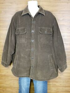 Vintage-High-Sierra-Brown-Corduroy-Sherpa-Lined-Button-Up-Jacket-Mens-Size-XL