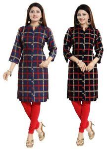 100-Sold-Women-Indian-Kurti-Printed-3-4-Sleeves-Tunic-Kurta-Dress-SC2446-SC2447